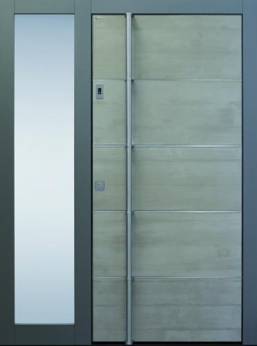 Haustür modern, grau, mit Seitenteil, Beton, Edelstahl, Sicherheitstür, passivhaustauglich, besser als Alu, Glas