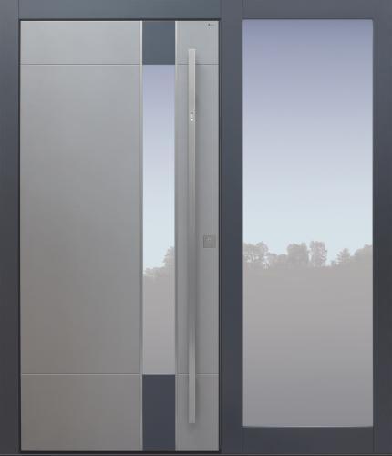 Haustür modern, grau Topiccore, Seitenteil, Sicherheitstür, passivhaustauglich, besser als alu, Glas