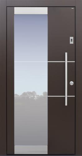 Haustür modern, braun, Topiccore, Edelstahl, Sicherheitstür, passivhaustauglich, besser als alu, Glas