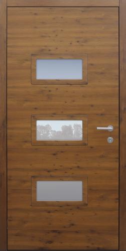 Haustür modern, Holz, Eiche, Sicherheitstür, Innenansicht, passivhaustauglich, besser als Alu, Glas