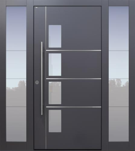 Haustür modern, grau Topiccore, Edelstahl, Seitenteil, Sicherheitstür, passivhaustauglich, besser als alu, Glas