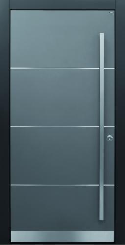 Haustür modern, grau, TOPICcore, Edelstahl, Sicherheitstür, passivhaustauglich, besser als alu