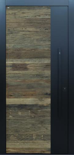 Haustür modern anthrazit, Holz, Altholz, Eiche, über 300 Jahre, Sicherheitstür, passivhaustauglich, TOPICcore, besser als alu, Stoßgriff schwarz