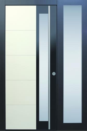 Haustür modern, anthrazit, beige, Keramik, Sicherheitstür, passivhaustauglich, TOPICcore, besser als alu, Glas, Seitenteil