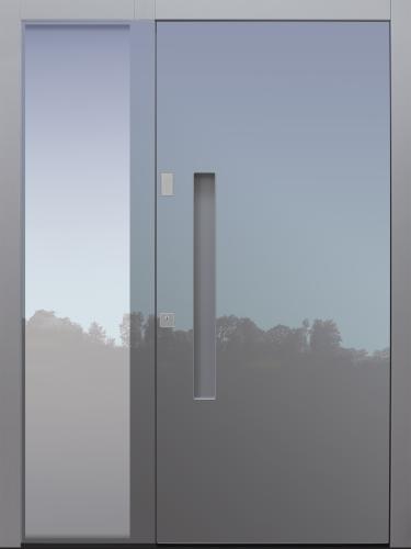 Haustür modern, grau, TOPICcore, mit Seitenteil, Sicherheitstür, passivhaustauglich, besser als alu, Glas