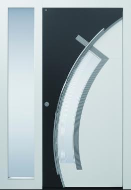 Haustür, weiß und anthrazit, mit Seitenteil, TOPICcore, Edelstahl, Sicherheitstür, passivhaustauglich, besser als Alu, Glas, Glasmotiv