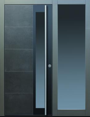 Haustür modern, anthrazit, Keramik, Sicherheitstür, passivhaustauglich, Glas, Lichtausschnitt