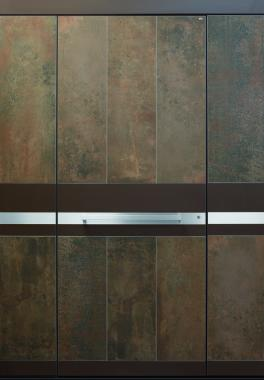 Haustür modern, braun bronze Cor-Ten, Edelstahl, Keramik, Sicherheitstür, passivhaustauglich, TOPICcore, besser als alu, Seitenteil, Stockverbreiterung