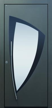 Haustür modern, anthrazit, Edelstahl, Glas, polygonal, Sicherheitstür, passivhaustauglich, besser als alu