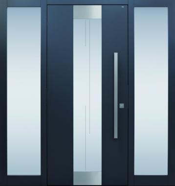 Haustür modern, anthrazit, Edelstahl, Glas, Sicherheitstür, passivhaustauglich, besser als alu