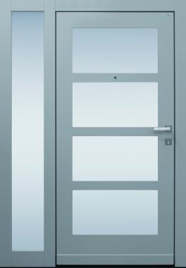 Haustür modern, hellgrau, TOPICcore, Sicherheitstür, passivhaustauglich, besser als alu, Seitenteil, Glas