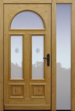 Haustür klassisch Eiche astig mit Glasmotiv MRS7 auf Kundenwunsch mit Option ohne Sprossen mit Seitenteil B1 Modell A02-T1