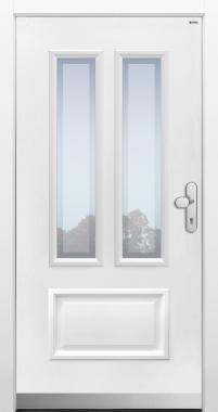 Haustür klassisch weiß mit Option Glas Klarrand  Modell A128-T1