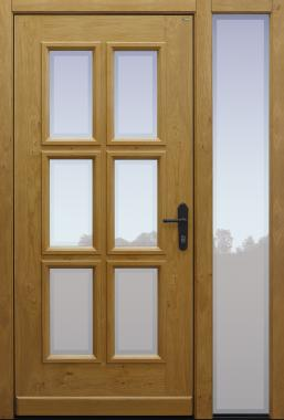 Haustür klassisch Eiche astig mit Option Glas Klarrand mit Seitenteil B1 Modell A171-T1