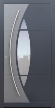 Haustür anthrazit mit Glasmotiv MRS5 mit Optionen 2. Farbe und Rosette flächenbündig Modell A230-T1