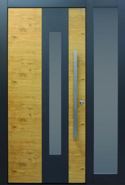 Haustür modern, anthrazit, Holz, Sicherheitstür, passivhaustauglich, besser als alu, Seitenteil, Glas