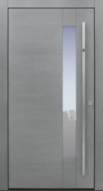Haustür modern, Holz, Eiche, Silverwood, Fingerprint, Sicherheitstür, passivhaustauglich, besser als Alu, Glas