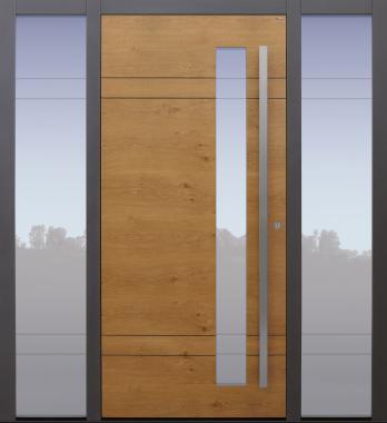 Haustür Eiche astig mit Glasmotiv MS4 mit Spurfräsungen und Glasausschnitt auf Kundenwunsch mit Option Designpaket mit 2 Seitenteilen B1 Modell A437-T1