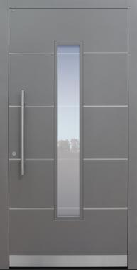 Haustür grau mit Option Edelstahllisenen und Designpaket mit Glasmotiv MS4 Modell A843-T1
