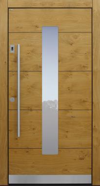 Haustür modern, Holz, Eiche, Edelstahl, Sicherheitstür, passivhaustauglich, besser als Alu, Glas