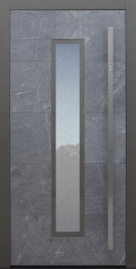 Haustür Himalayastein mit Fingerprint und Glas Uadi weiß Modell A483-T3