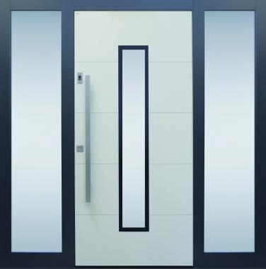 Haustür beige grau Keramik Sicherheitstür passivhaustauglich Seitenteil Glas Lichtausschnitt