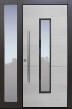 Haustür modern, TOPICcore, Keramik, Grau, Koshi grau, Sicherheitstür, passivhaustauglich, besser als Alu, Glas, Seitenteil
