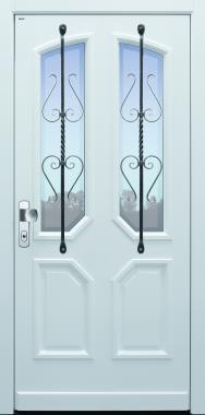 Haustür klassisch weiß mit Schmiedeisengitter auf Kundenwunsch mit Option Glas Klarrand Modell A96-T1