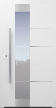 Haustür weiß mit Glasmotiv MS4 mit Edelstahllisenen auf Kundenwunsch Modell B10-T2