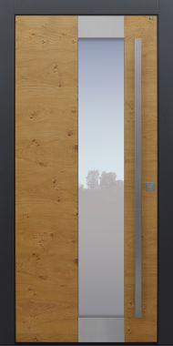 Haustür modern, Holz, Eiche astig, Eiche, Edelstahlapplikation, Sicherheitstür, passivhaustauglich, besser als Alu, Glas
