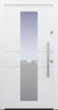 Haustür modern, weiß, TOPICcore, Fingerprint, Edelstahl, Sicherheitstür, besser als Alu, Glas