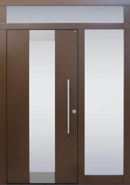 Haustür modern, braun, Topiccore, Edelstahl, Seitenteil, Sicherheitstür, passivhaustauglich, besser als alu, Glas