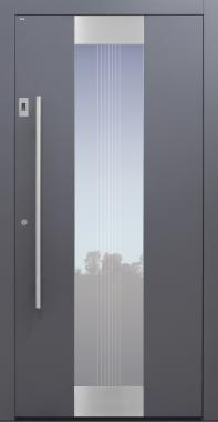 Haustür anthrazit mit Fingerprint und Glasmotiv MTS4 Modell B11-T2