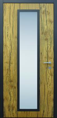 Haustür modern, Eiche, Holz, crack braun, besser als Alu, Glas