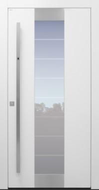 Haustür modern, weiß, TOPICcore, Fingerprint, Sicherheitstür, passivhaustauglich, besser als Alu, Glas