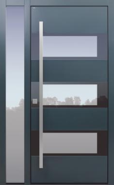 Haustür grau mit Seitenteil B1 Modell B17-T2