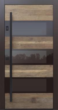 Haustür modern, Holz, Altholz, Eiche, Fingerprint, TOPICcore, Sicherheitstür, passivhaustauglich, besser als Alu, Glas