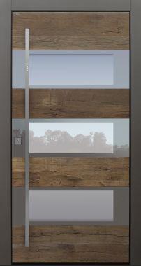 Haustür modern, Holz, Eiche, Eiche Altholz, Sicherheitstür, passivhaustauglich, besser als Alu, Glas, Fingerprint