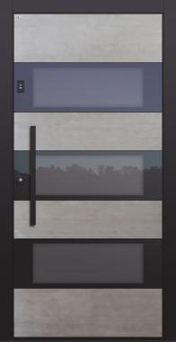 Haustür Echtbeton mit Optionen Stoßgriff und Rosette schwarz mit Fingerprint Modell B17-T3