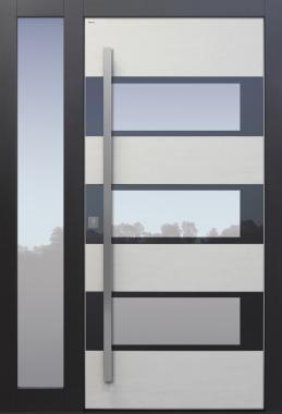Haustür hellgrau anthrazit Keramik Sicherheitstür passivhaustauglich Glas Lichtausschnitt