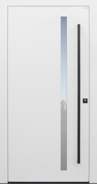 Haustür modern, weiß, TOPICcore, Stoßgriff in schwarz, Sicherheitstür, passivhaustauglich, besser als Alu, Glas