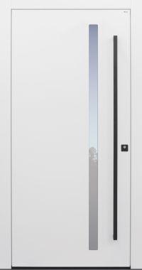 Haustür modern, TOPICcore, weiß, Sicherheitstür, passivhaustauglich, besser als Alu, Glas, Stoßgriff schwarz