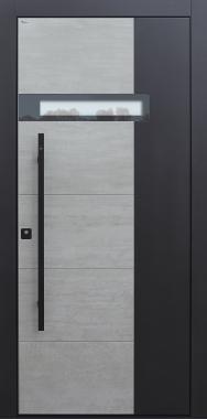 Haustür modern, Keramik, Beton, TOPICcore, Fingerprint, Sicherheitstür, passivhaustauglich, besser als Alu, Glas, Stoßgriff schwarz