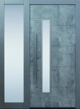 Haustür modern, Beton Dekor, Sicherheitstür, passivhaustauglich, besser als alu, Seitenteil, Glas