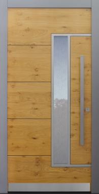 Haustür Eiche astig mit Glas Uadi mit Option 2. Farbe Modell B33-T