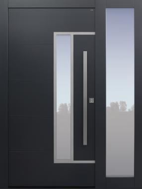 Haustür anthrazit mit Option 2. Farbe mit Seitenteil T Modell B33-T