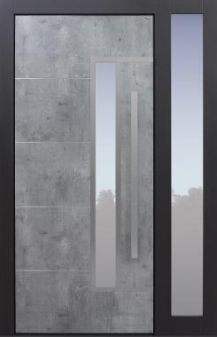 Haustür modern, Exterior, Skyline, anthrazit, TOPICcore, Seitenteil, Sicherheitstür, passivhaustauglich, besser als Alu, Glas
