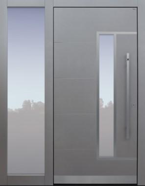 Haustür modern, TOPICcore, hellgrau, Sicherheitstür, passivhaustauglich, besser als Alu, Glas, Seitenteil, Fingerprint