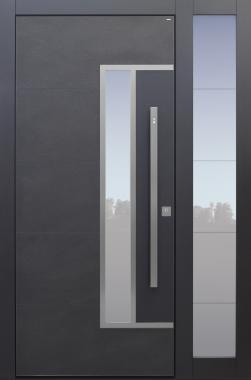 Haustür modern, TOPICcore, anthrazit, dunkelgrau, Keramik, Sicherheitstür, passivhaustauglich, besser als Alu, Glas, Seitenteil, Fingerprint