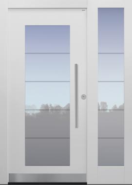 Haustür weiß mit Glasmotiv MS4 und Querfries unten auf Kundenwunsch mit Seitenteil T Modell B34-T